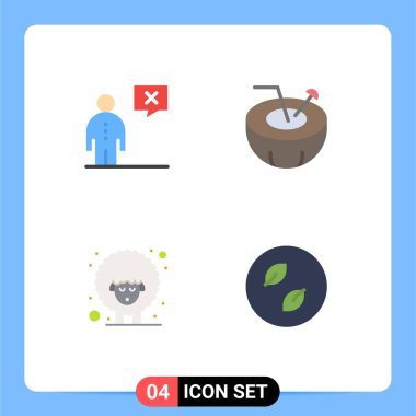 Set of 4 Commercial Flat Icons pack for business, easter, human, coconut drink, sheep Editable Vector Design Elements icon