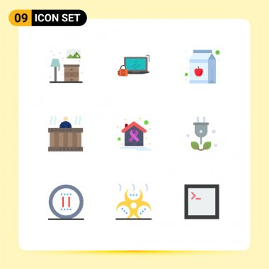 Universal Icon Symbols Group of 9 Modern Flat Colors of springs, relax, login, massage, bottle Editable Vector Design Elements icon