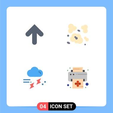 Flat Icon Pack of 4 Universal Symbols of arrow, rain, upload, environment, rainy Editable Vector Design Elements icon