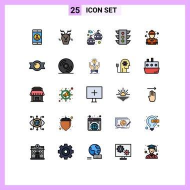 25 Universal Filled line Flat Color Signs Symbols of fire, rule, cable car, navigation, traffic Editable Vector Design Elements