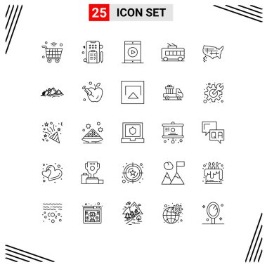 Set of 25 Modern UI Icons Symbols Signs for map, trolley, cinema, transport, phone Editable Vector Design Elements