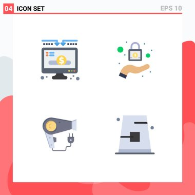 4 User Interface Flat Icon Pack of modern Signs and Symbols of charity, hairdryer, donate, security, autumn Editable Vector Design Elements icon
