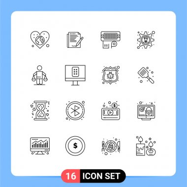 Stock Vector Icon Pack of 16 Line Signs and Symbols for patent, gear, layout, brainstorming, data Editable Vector Design Elements icon
