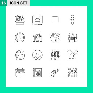 Group of 16 Outlines Signs and Symbols for sport, user, box, time, record Editable Vector Design Elements
