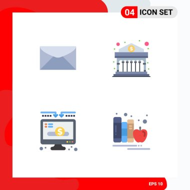 Flat Icon Pack of 4 Universal Symbols of mail, donation, message, finance, donate Editable Vector Design Elements icon