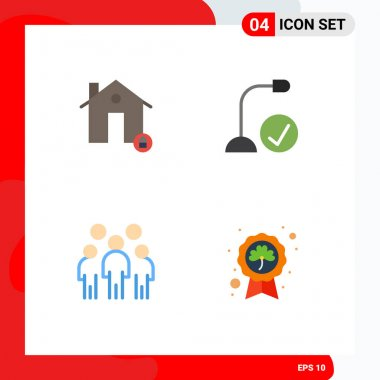 Stock Vector Icon Pack of 4 Line Signs and Symbols for buildings, hardware, lock, connected, leader Editable Vector Design Elements icon