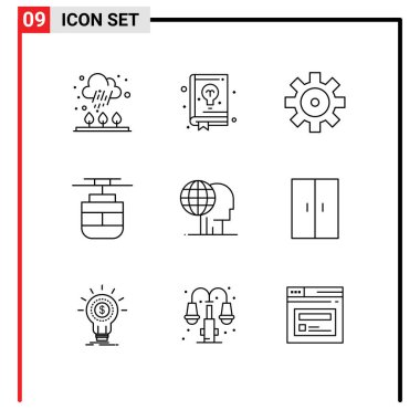 Stock Vector Icon Pack of 9 Line Signs and Symbols for global, global marketing, setting, vehicles, transport Editable Vector Design Elements icon