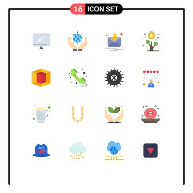 Universal Icon Symbols Group of 16 Modern Flat Colors of graphic, money, earth, growth, profit Editable Pack of Creative Vector Design Elements icon