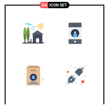 4 Universal Flat Icons Set for Web and Mobile Applications estate, phone, real, friend, pack Editable Vector Design Elements icon