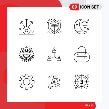 Stock Vector Icon Pack of 9 Line Signs and Symbols for group, company, moon, structure, management Editable Vector Design Elements icon