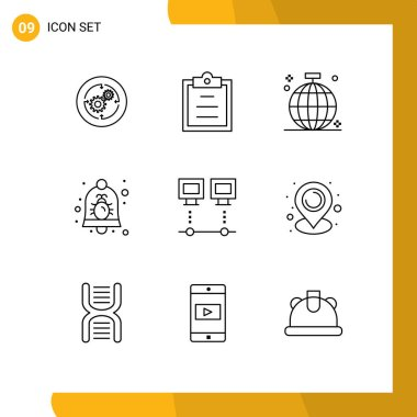 Stock Vector Icon Pack of 9 Line Signs and Symbols for security, bell, ball, alarm, party Editable Vector Design Elements icon