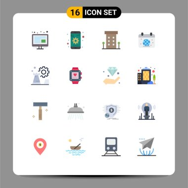 Universal Icon Symbols Group of 16 Modern Flat Colors of strategy, globe, house, earth, calender Editable Pack of Creative Vector Design Elements icon