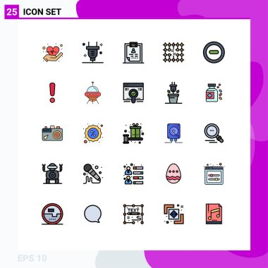 Universal Icon Symbols Group of 25 Modern Filled line Flat Colors of media, grid, diagnosis, electricity, chip Editable Vector Design Elements icon
