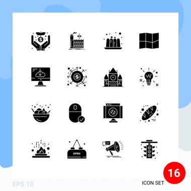 Stock Vector Icon Pack of 16 Line Signs and Symbols for installation, driver, cake, download, map Editable Vector Design Elements icon