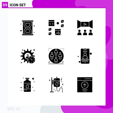 Stock Vector Icon Pack of 9 Line Signs and Symbols for user, product, cinema, manager, administrator Editable Vector Design Elements icon