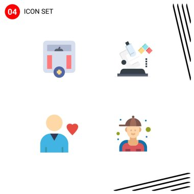 Editable Vector Line Pack of 4 Simple Flat Icons of body, friend, weight, lab, man Editable Vector Design Elements icon