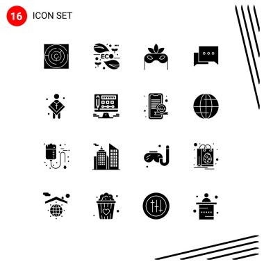 Stock Vector Icon Pack of 16 Line Signs and Symbols for church, comment, leaf, chat, masquerade Editable Vector Design Elements icon