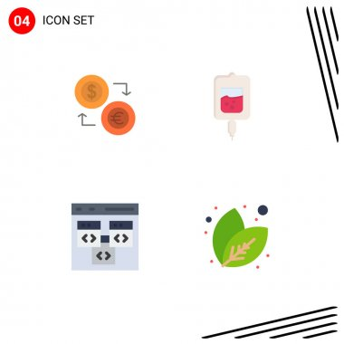 Set of 4 Commercial Flat Icons pack for exchange, test, dollar, financial, samples Editable Vector Design Elements icon