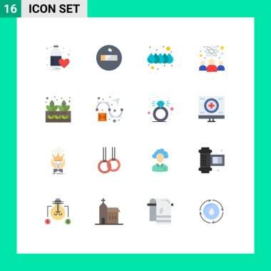Set of 16 Modern UI Icons Symbols Signs for plant, grower, drop, agriculture, researchers Editable Pack of Creative Vector Design Elements icon