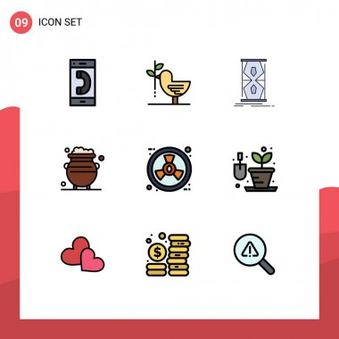 Stock Vector Icon Pack of 9 Line Signs and Symbols for luck, fortune, harmony, time, early Editable Vector Design Elements icon