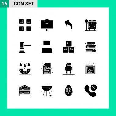 Stock Vector Icon Pack of 16 Line Signs and Symbols for court, bus stop, monitor, life, arrows Editable Vector Design Elements icon