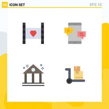 Pack of 4 Modern Flat Icons Signs and Symbols for Web Print Media such as film, promotion, love, community, business Editable Vector Design Elements icon
