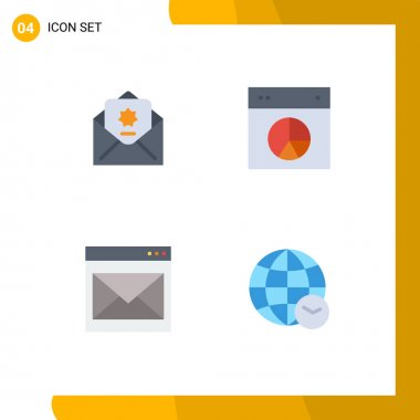 Flat Icon Pack of 4 Universal Symbols of donation, communication, mail, layout, contact us Editable Vector Design Elements icon