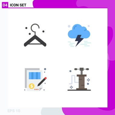 Pack of 4 Modern Flat Icons Signs and Symbols for Web Print Media such as clothes, justice, insurance, accuracy, pump Editable Vector Design Elements icon