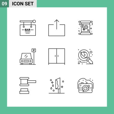 Stock Vector Icon Pack of 9 Line Signs and Symbols for furniture, sign, card, parking, women Editable Vector Design Elements icon
