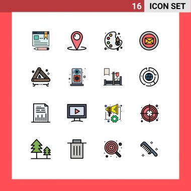Stock Vector Icon Pack of 16 Line Signs and Symbols for typing, support, service, message, color Editable Creative Vector Design Elements icon