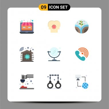 Stock Vector Icon Pack of 9 Line Signs and Symbols for call, cleaning, environment, mirror, smart home Editable Vector Design Elements icon
