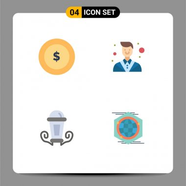 Pack of 4 Modern Flat Icons Signs and Symbols for Web Print Media such as coin, lamp, attorney, lawyer, globe Editable Vector Design Elements icon