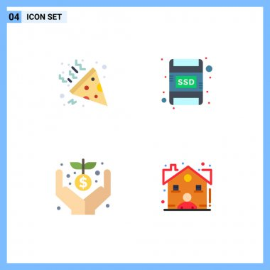 Set of 4 Commercial Flat Icons pack for confetti, money, card, crowd, estate Editable Vector Design Elements icon