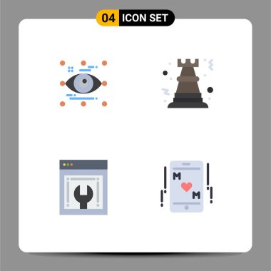 Set of 4 Commercial Flat Icons pack for art, strategy, look, chess, web configuration Editable Vector Design Elements icon