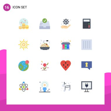 16 Creative Icons Modern Signs and Symbols of light, office, hand, math, calculator Editable Pack of Creative Vector Design Elements icon