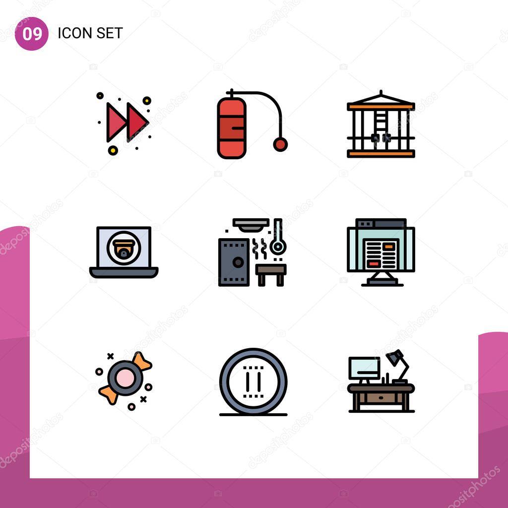 Set Of 9 Vector Filledline Flat Colors On Grid For Spa Relax Killer Hot Video Editable Vector Design Elements Premium Vector In Adobe Illustrator Ai Ai Format Encapsulated Postscript Eps Eps Format