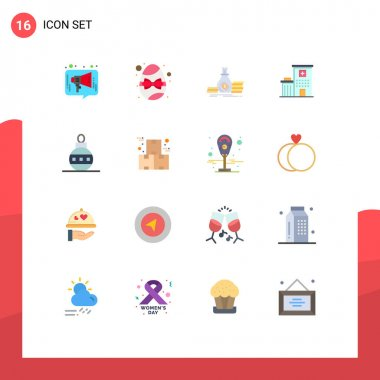 Universal Icon Symbols Group of 16 Modern Flat Colors of medical, building, egg, hospital, loan Editable Pack of Creative Vector Design Elements icon