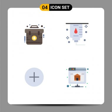 User Interface Pack of 4 Basic Flat Icons of aid, contact, kit, medical, database Editable Vector Design Elements icon