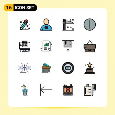 Stock Vector Icon Pack of 16 Line Signs and Symbols for finance, banking, on, app, web page Editable Creative Vector Design Elements icon