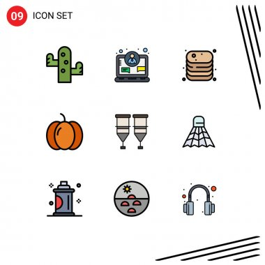 Stock Vector Icon Pack of 9 Line Signs and Symbols for blood, pumpkin, beef, halloween, shop Editable Vector Design Elements icon