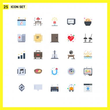Stock Vector Icon Pack of 25 Line Signs and Symbols for oven, food, table, cooking, human Editable Vector Design Elements icon
