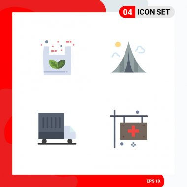 Pack of 4 Modern Flat Icons Signs and Symbols for Web Print Media such as bag, delivery, shopping, estate, van Editable Vector Design Elements icon