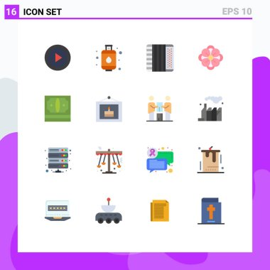 16 Creative Icons Modern Signs and Symbols of cash, spring flower, accordion, flower, anemone Editable Pack of Creative Vector Design Elements icon
