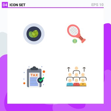 4 User Interface Flat Icon Pack of modern Signs and Symbols of achievement, finance, wreath, tennis, payment Editable Vector Design Elements icon