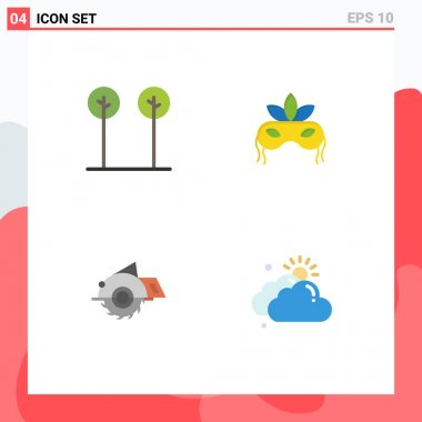 User Interface Pack of 4 Basic Flat Icons of eco, building, plant, venetian, construction Editable Vector Design Elements icon