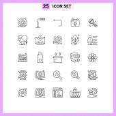 Universal Icon Symbols Gruppe von 25 modernen Linien von Fackel, Blitz, Schleife, Tag, Ei Editierbare Vektordesign-Elemente