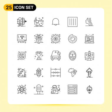 Stock Vector Icon Pack of 25 Line Signs and Symbols for women, laundry, bell, dry, clothing Editable Vector Design Elements icon