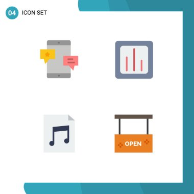 Set of 4 Commercial Flat Icons pack for chat, statistics, network, chart, document Editable Vector Design Elements icon