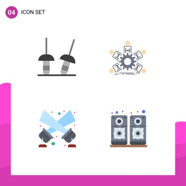 Pack of 4 Modern Flat Icons Signs and Symbols for Web Print Media such as fencing, floodlight, team, business, disco light Editable Vector Design Elements icon