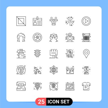 Stock Vector Icon Pack of 25 Line Signs and Symbols for multimedia, works, connection, stars, achievement Editable Vector Design Elements icon